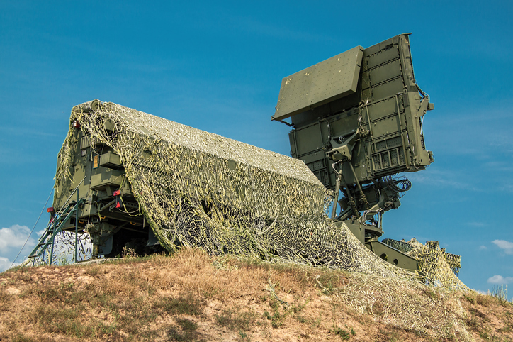 Modern army mobile radar station on position on top of the hill