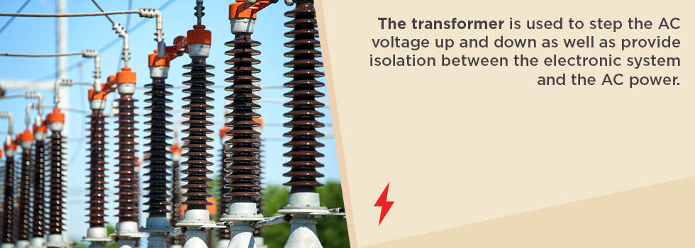 the transformer steps the AC voltage up and down, and provides isolation between the electronic system and the AC power