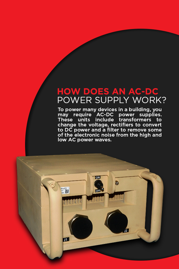 How Does an AC-DC Power Supply Work? To power many devices in a building, you may require AC-DC power supplies. These units include transformers to change the voltage, rectifiers to convert to DC power, and a filter to remove some of the electronic noise from the high and low AC power waves.